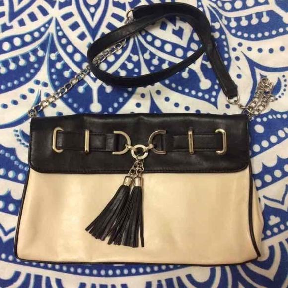 Elle Handbags - Elle chain strap cream and black shoulderbag